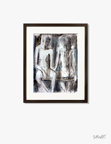 Couple Charcoal drawing Original Artistic sketch Nude Modern Figurative graphic art Woman Wall decor by IvMarART (Image #3)