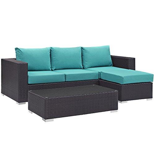 Modway Convene Wicker Rattan 3-Piece Outdoor Patio Furniture Sofa Set in Espresso Turquoise