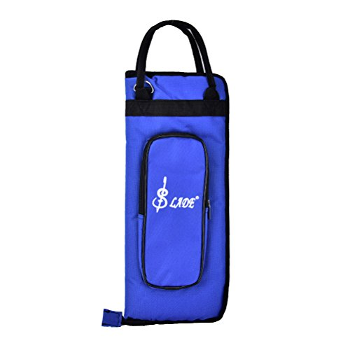Case Drum Stick Holder Percusssion Drum Mallet Bag with External Pocket and Floor Tom Hooks, Blue (Marching Snare Stick Bag)