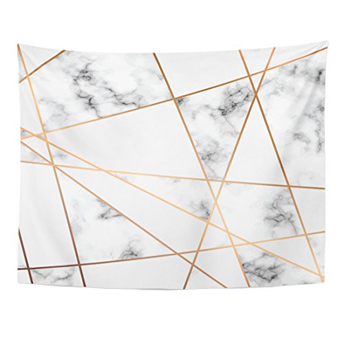- Emvency Tapestry Gray Stone Marble Design with Golden Geometric Lines Black and White Marbling Modern Luxurious Pink Block Home Decor Wall Hanging for Living Room Bedroom Dorm 60x80 inches