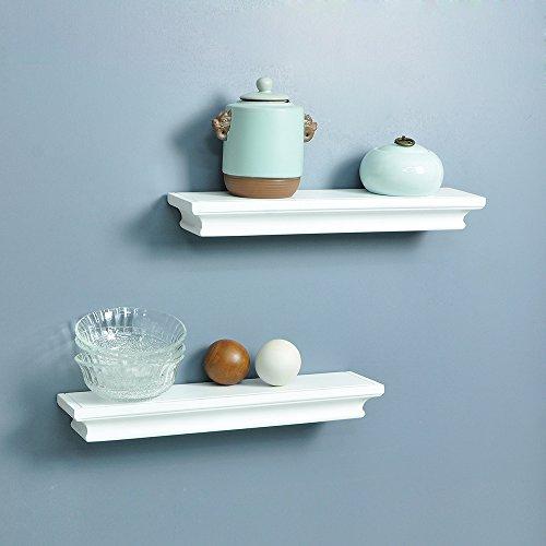 White Floating Shelves Kitchen: AHDECOR Floating Wall Shelves Ledge Shelf White (Set Of 2