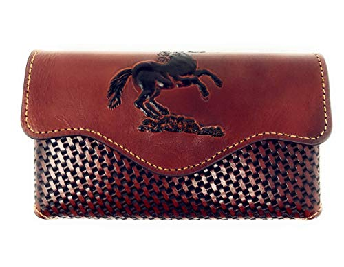 Texas West Western Cowboy Horizontal Basketweave Leather Longhorn Cellphone Belt Holster Case in 2 Colors (Brown)