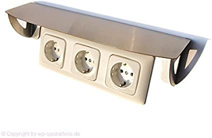 ACERO INOX Dosel de protección para 3 enchufes/Interruptor ...