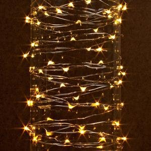 Gerson 38624 - 60 Light 20' Silver Wire Warm White Battery Operated Outdoor LED Micro Miniature Christmas Light String Set with Timer