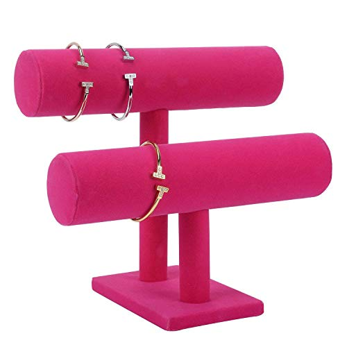 TOOGOO Covered 2 Tier Necklace Jewelry Bangle Bracelet Holder Display Stand for Home Organization, Ro Red