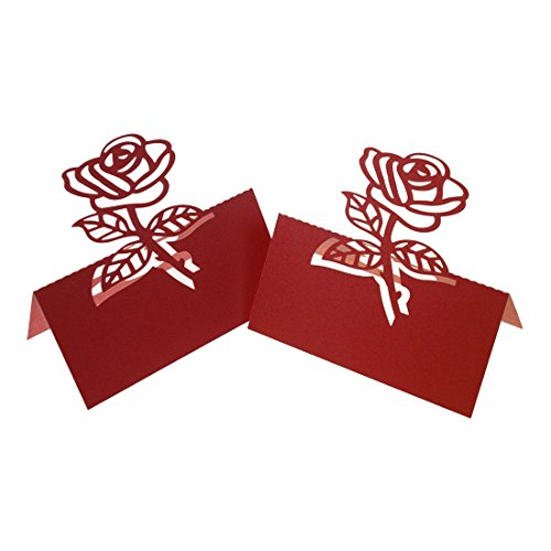 TOOGOO(R) 60x Rose Paper Wedding Table Numbers Place Card Escort Name Cards for Wedding Party Decoration - Rose Red Write Name On