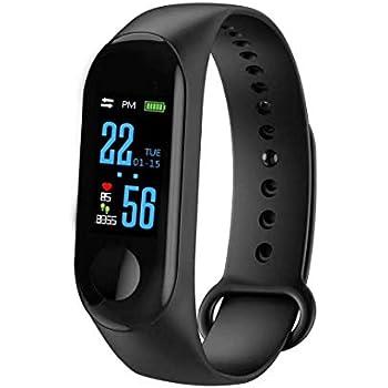 eca96fda6f50 Mandic M3 Monitor de presión Arterial frecuencia cardíaca Monitor de Ritmo  cardíaco Reloj Pulsera Inteligente para iOS y Android (Negro)