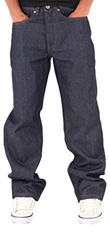 Rocawear Mens Boys Double R Star Loose Fit Hip Hop Jeans Is Money G Time Baggy (W46 - L34, Raw (Rocawear 5 Pocket Jeans)
