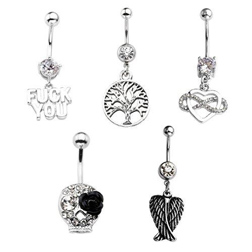 Skull Navel Ring (PiercingJ 5pcs 14G Surgical Steel Rhinestone Flower Skull Ball Belly Button Bar Ring Navel Barbells Rings Body Piercing jewellery Golden Silvery)