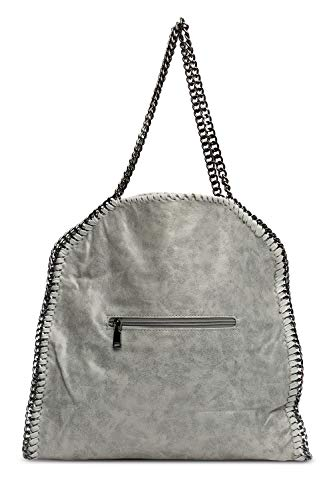 Camoscio Grey Grande Sintetico Metallizzato Stile Stella Donna Catena Borsa EDHW29I