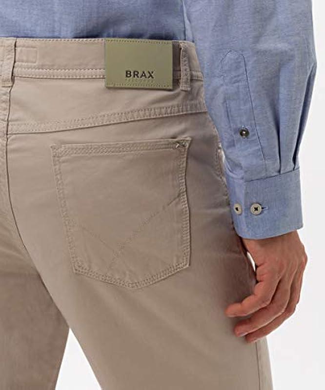 BRAX Męskie spodnie Cooper Fancy Marathon Płaska tkanina, beżowy (wiosna 2020), 38 W / 30 l: Odzież