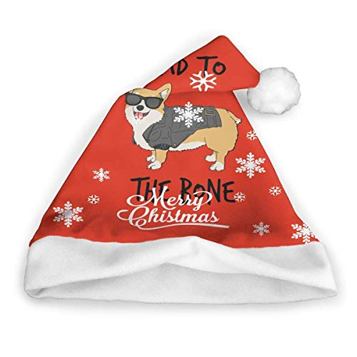 Ted GIen Bad to The Bone Corgi Classic Santa Hat-Christmas Hat Claus Hat with Plush Trim ∧ Comfort Liner