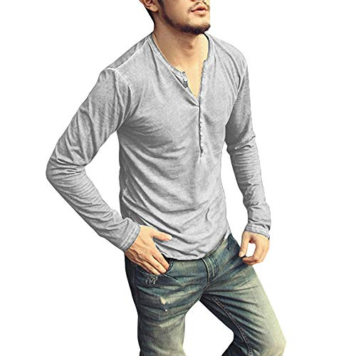 Xturfuo Men Casual Collar Button Slim T-Shirt Autumn Long Sleeve Henry Tops Blouses from Xturfuo
