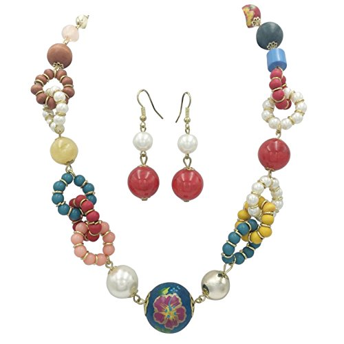 Wood Bead Necklace Earrings - 2