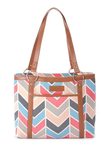 Overbrooke Classic Canvas Laptop Tote Bag - Womens Shoulder Bag for Laptops up to 15.6 Inches (Chic Cat)