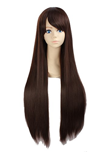 Angelaicos Unisex 80cm Various Color General Anime Cosplay Costume Party Halloween Natural Full Wig Long Straight 31 Inches (Brown)]()