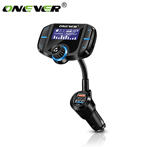 FM Transmitter, ONEVER Bluetooth Wireless Radio Car Adapter Hands Free Calling with Fast USB Charger Large LED Screen Support Siri TF Card