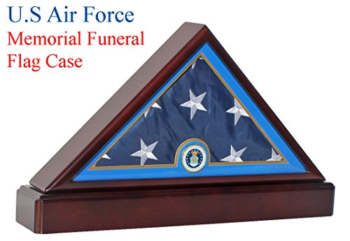 Honorable Air Force Flag Display Case Military Shadow Box for 5'X9.5' Burial/Funeral/Casket Folded, FC89P5 (Frame Force Air)