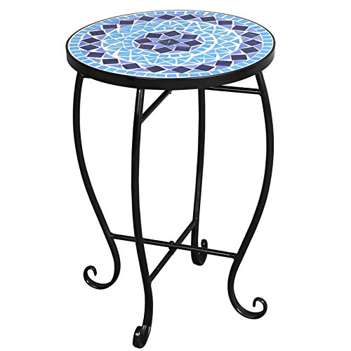 ble Plant Stand Floor Flower Pots Rack Planter Holder Decor Potted Containers Shelf Display for Home Patio Garden Indoor & Outdoor,Iron,Blue ()