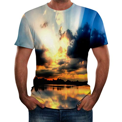 TOPUNDER Men Summer New Full 3D Printed T Shirt Plus Size S-3XL Cool Printing Top Blouse -