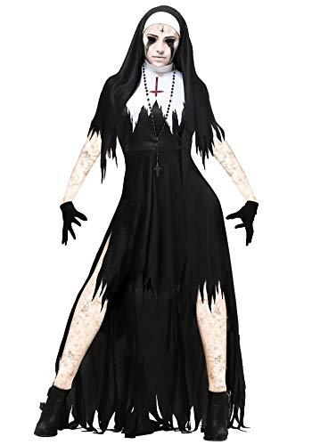 Online gehen Freiraum suchen großes Sortiment thematys Gruselige Horror Nonne Kostüm-Set für Damen - perfekt für  Halloween, Fasching & Karneval - 4 Verschiedene Größen (L)
