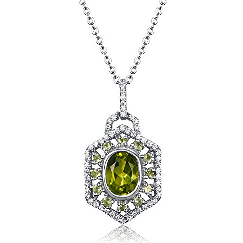 (Carleen Sterling Silver 2.15 Carats Genuine Green Peridot Gemstone August Birthstone Locket Pendant Necklace for Women Girls, Chain Length 16+2 inch)