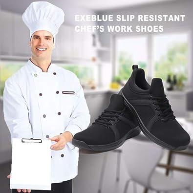 EXEBLUE Kitchen Shoes for Men Slip on Sneakers Slip Resistant Comfortable Lightweight Work Shoes Black