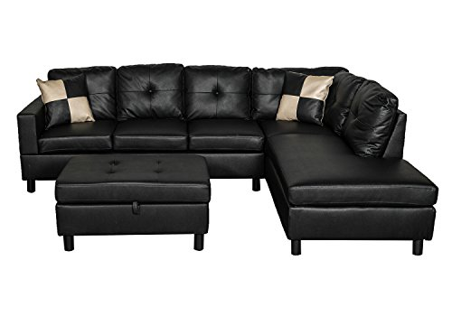 Legend Faux Leather Right-Facing Sectional Sofa Set With Free Storage Ottoman, Black