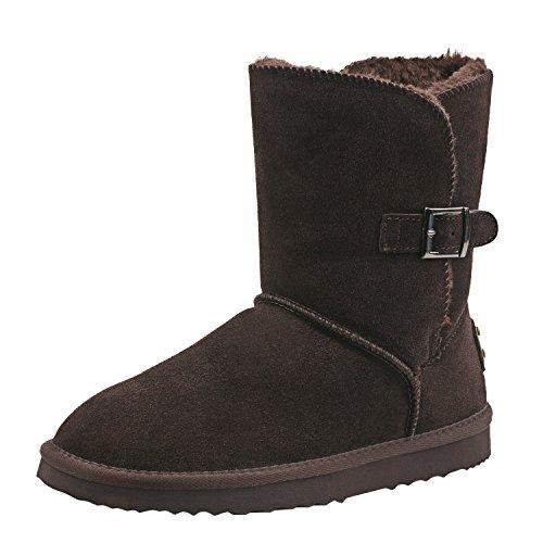 Shenduo Damen Winterstiefel Halbschaftstiefel Schlupfstiefel Leder Boots mit Knopf DA5803 Schokolade2
