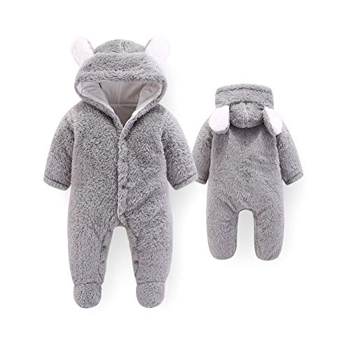 (KKING Christmas Baby Boys Girls Flannel Footed Romper,Newborn Onesie Winter Cartoon Bear Fleece Hooded Jumpsuit Halloween Cosplay Clothes (Gray,)
