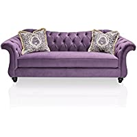 Furniture of America Ivorah Glamorous Sofa, Purple