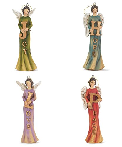 Christmas Resin Ornaments 4 Pack Rustic Vintage Angels (6.5