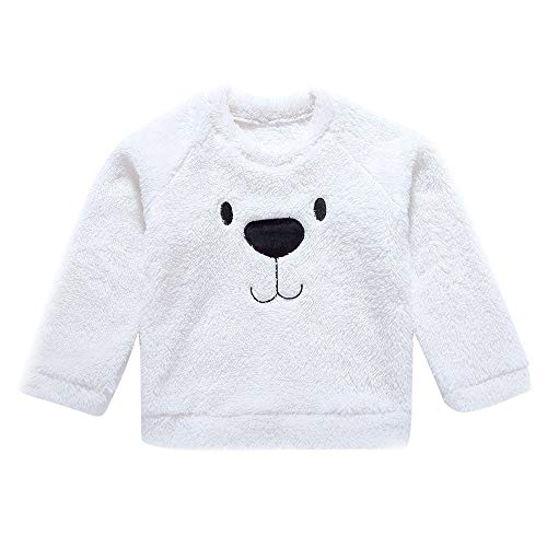 AMSKY Baby Clothing Dividers Girl,Children Boys and Girls Cartoon Small Bear Printed Keep Warm Top Clothes,Fashion Hoodies & Sweatshirts,White,80 (Cashmere Baby Doll Sweater)