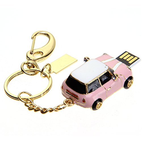 Price comparison product image A-one Novelty Crystal Series Crystal MINI Cooper Car Model USB2.0 Full Memory Stick Flash Pen Drive-Pink