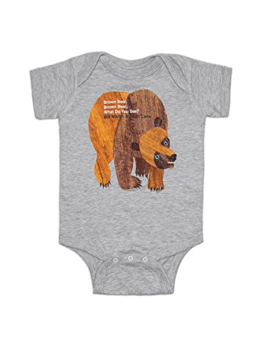 Out of Print Infant Brown Bear, Brown Bear Bodysuit 18 Month Heather ()