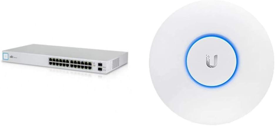 Ubiquiti UniFi Switch 24 sin PoE + Networks UAP-AC-LR - Punto de Acceso Inalámbrico, Puerto Ethernet 10/100/1000, Blanco, 175.7 x 175.7 x 43.2 mm