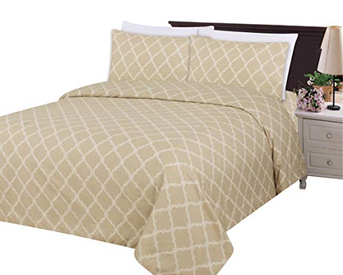 - Bamboo Living Eco Friendly Egyptian Super Soft 3 Pieces Duvet Cover Set with 2 Pillow Shams, Taupe Moroccan Trellis Pattern, Taupe White Color, King Size