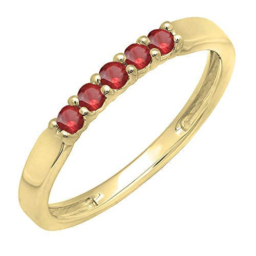 Dazzlingrock Collection 10K Round Ruby 5 Stone Ladies Anniversary Wedding Band Ring, Yellow Gold, Size 8