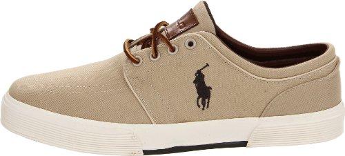 Polo Ralph Lauren Men's Faxon Low Sneaker, Khaki Canvas, 9.5 D US