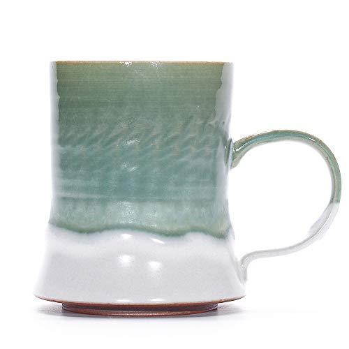 Ancient Handmade Unique Coffee Mug Stoneware Mug Mixed Glazing Mug (Nature Green)