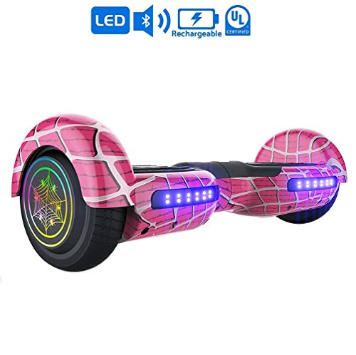 NHT 6.5 inch Aurora Hoverboard Self Balancing Scooter with Colorful LED Wheels and Lights - UL2272 Certified Carbon Fiber/Spider/Built-in Bluetooth Speaker Available (Spider Pink)