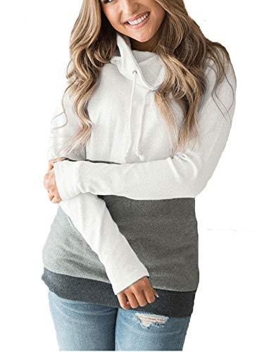 ORMAY Lady's Cowl Neck Sweater Long Sleeve Shirt Tunic Top Sweatshirt (White, Medium)