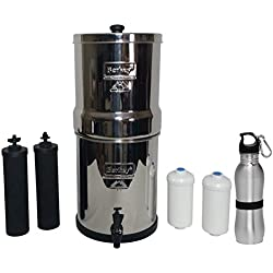 Berkey Big Water Filter 2.5 Gallon System Bundle: 2 Black BB9 Filters, 2 PF2 Fluoride Filters, 1 Stainless Steel Water Bottle