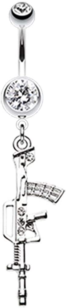 - Sold Individually Gold Colored Assault Rifle Belly Button Ring 1.6mm 14G
