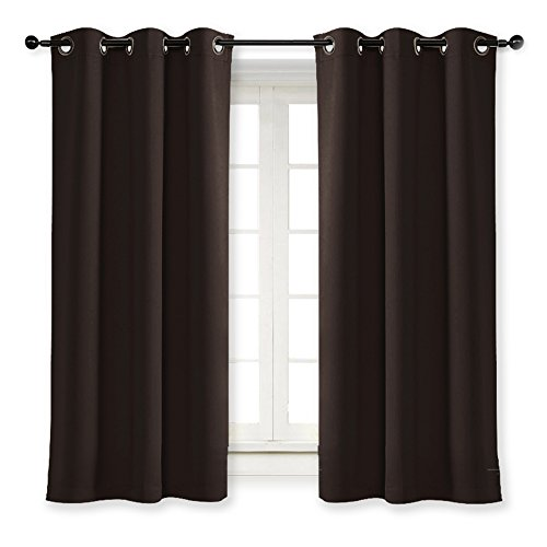 - NICETOWN Thermal Insulated Blackout Curtain and Drapery Triple Weave Soundproof Solid Ring Top Window Drape for Bedroom (Sold Individually, 42 Inch by 63 Inch, Toffee Brown)