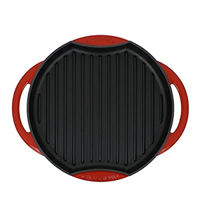 Chasseur 10-inch Red Round French Enameled Cast Iron Grill Pan