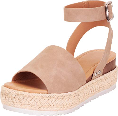 Cambridge Select Women's Open Toe Ankle Strap Espadrille Flatform Sandal,6 B(M) US,Dark Natural NBPU
