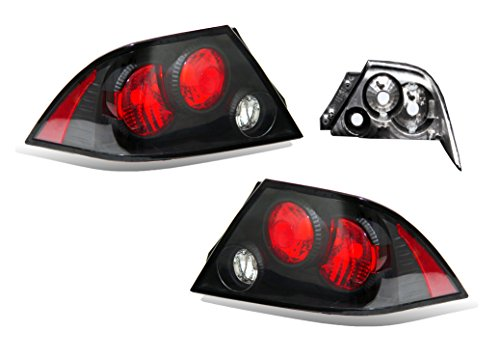SPPC Black Taillights Assembly Set for Mitsubishi Lancer - (Pair) Driver Left and Passenger Right Side Replacement