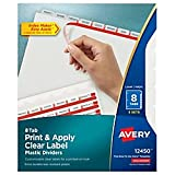 Avery Index Maker Translucent Dividers with Clear Labels, 8 Tab, 5 Sets (12450)