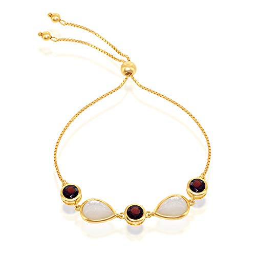 (Sterling Silver Gold Plated Garnet Gemstone Pear-Shaped Mother of Pearl Adjustable Bolo Bracelet)